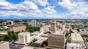 a bird's eye view of downtown Fresno, California where commerce, law and education take place.